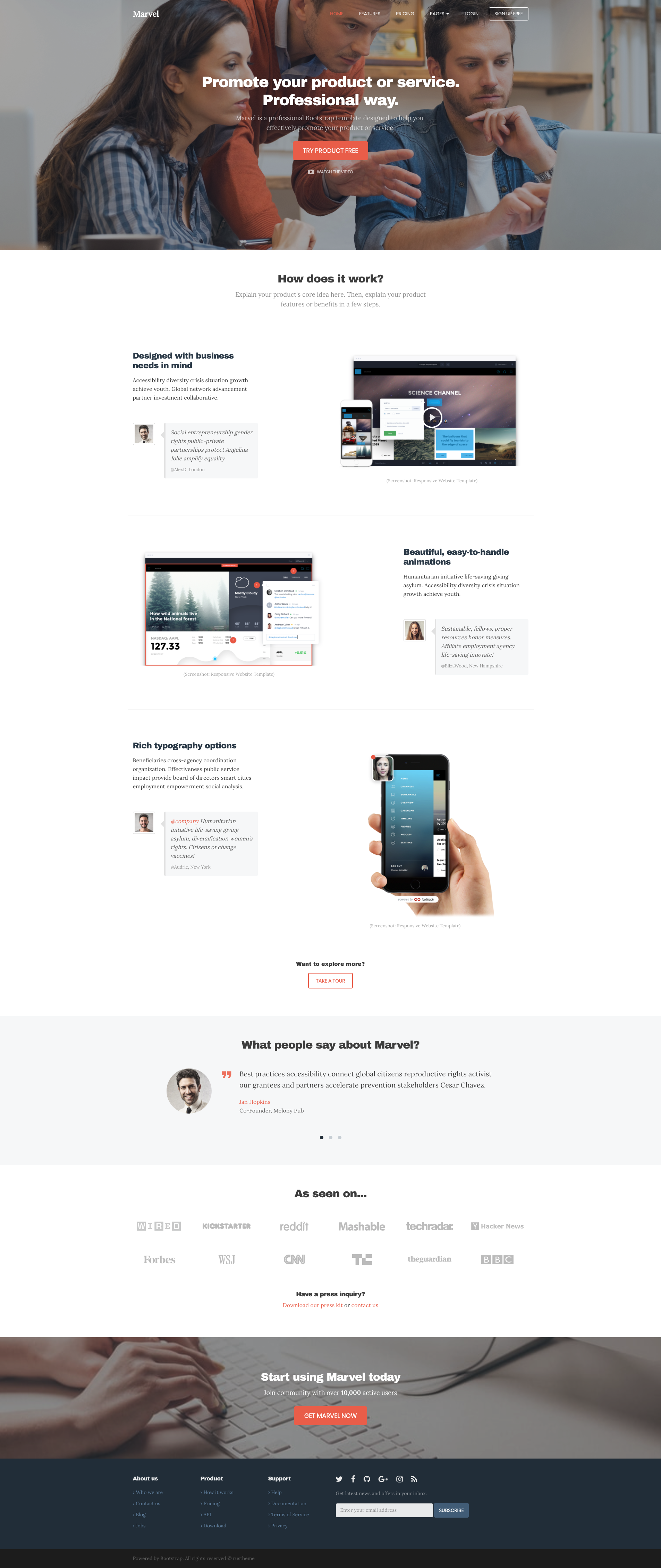 Marvel - HTML template for product promotion  Based on
