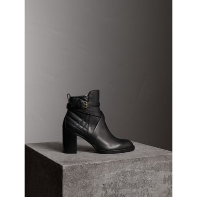 Burberry Strap Detail Quilted Leather Ankle Boots In Black Modesens Leather Ankle Boots Boots Quilted Boots