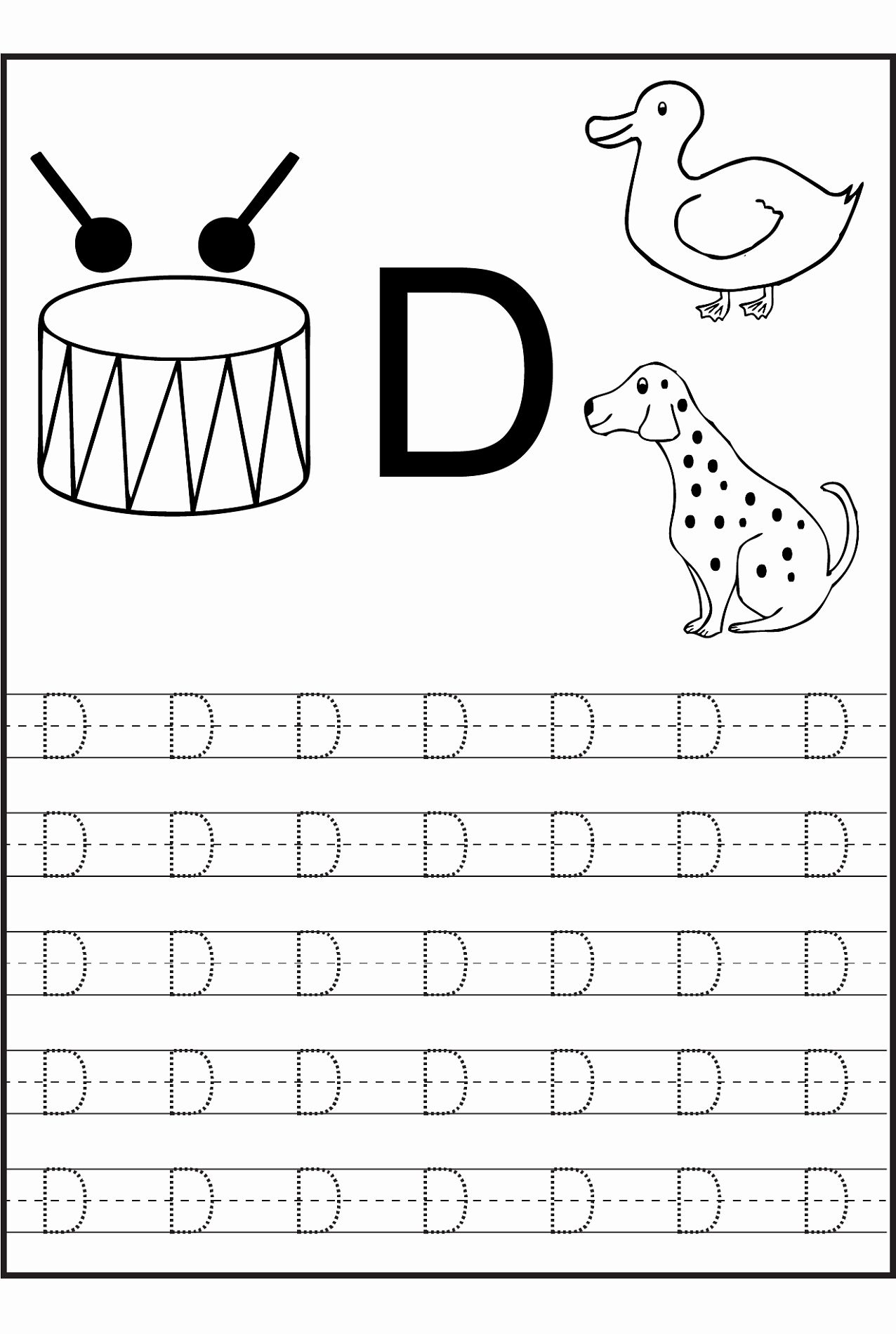 Letter D Worksheet For Preschool Beautiful Trace Letter D
