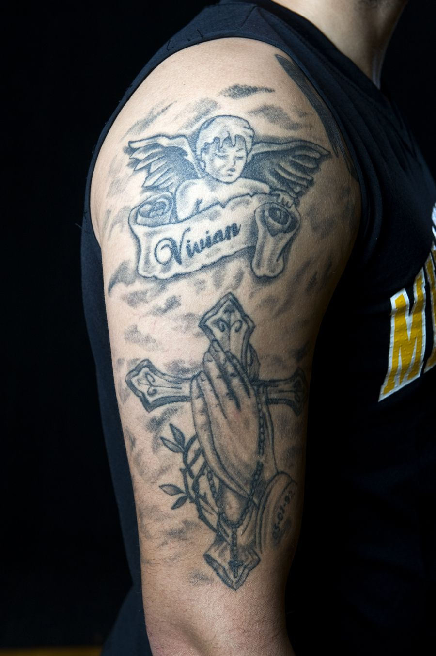 Men's basketball player Anthony Coleman got this tattoo to
