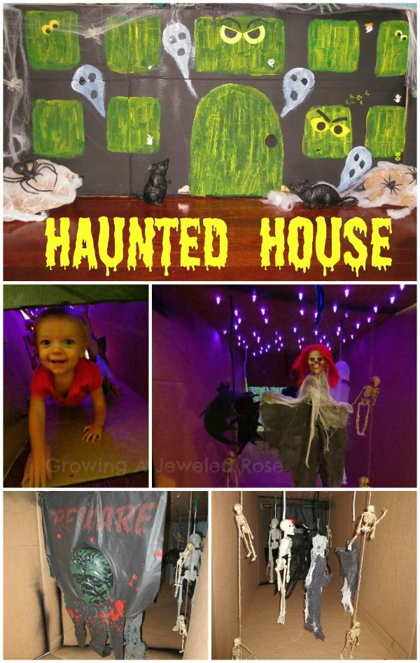 Make a haunted house from a cardboard box! Complete with spooky lighting  and glowing windows this house would be fun for children of all ages!