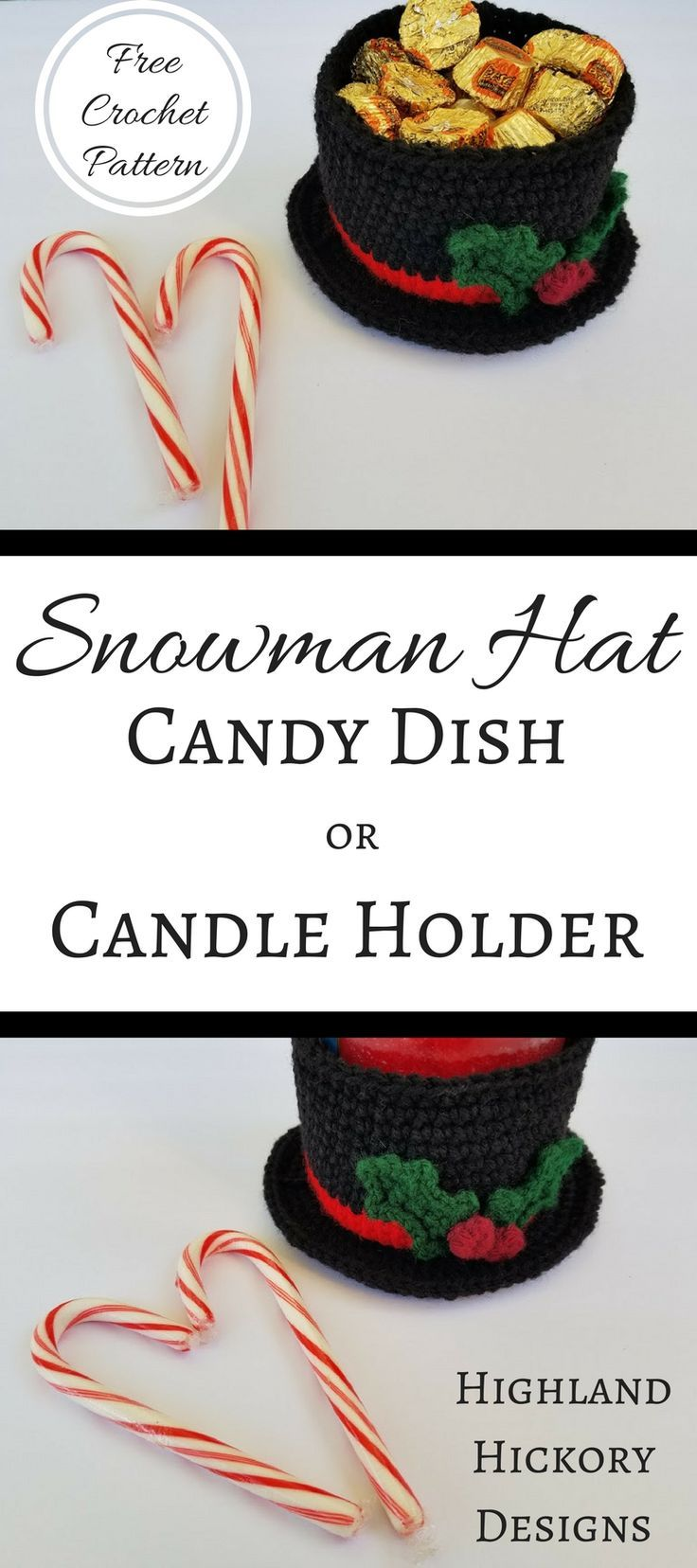Snowman Hat Candy Dish or Candle Holder | Navidad