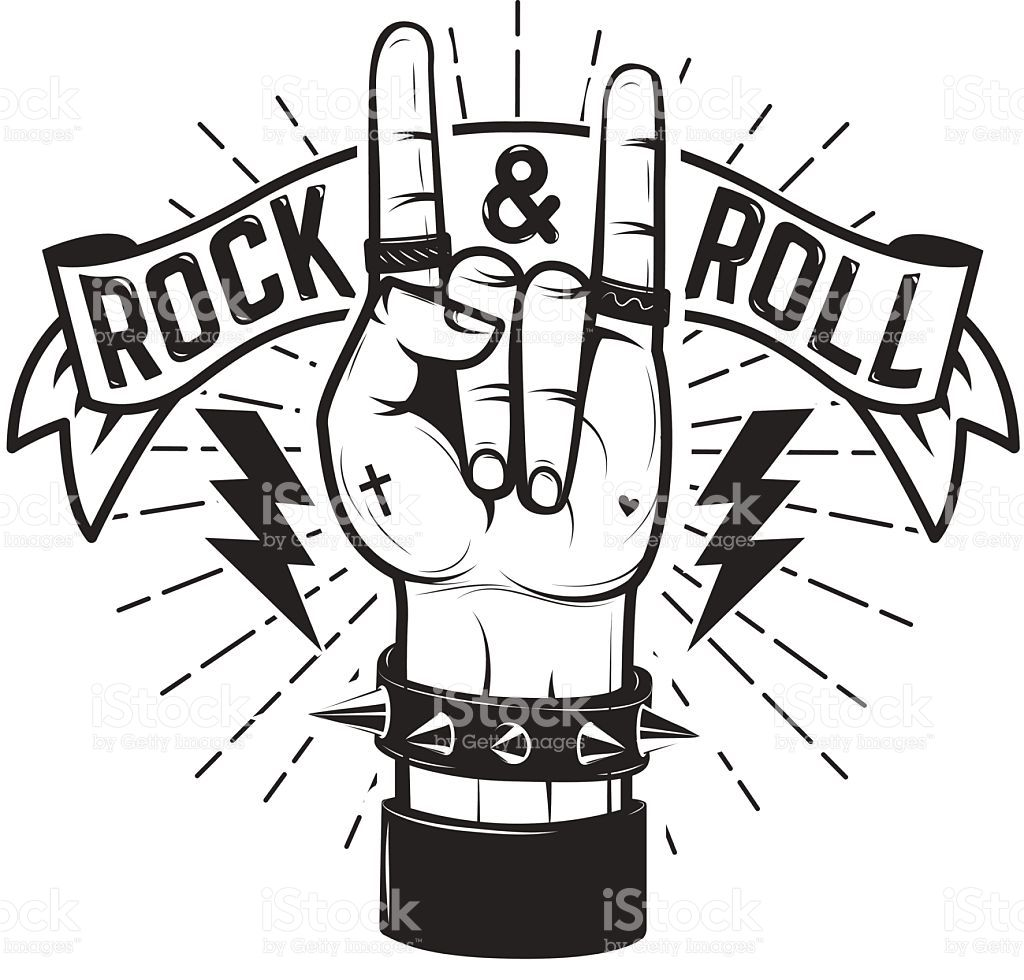 Rock and roll sign human hand with heavy metal vector