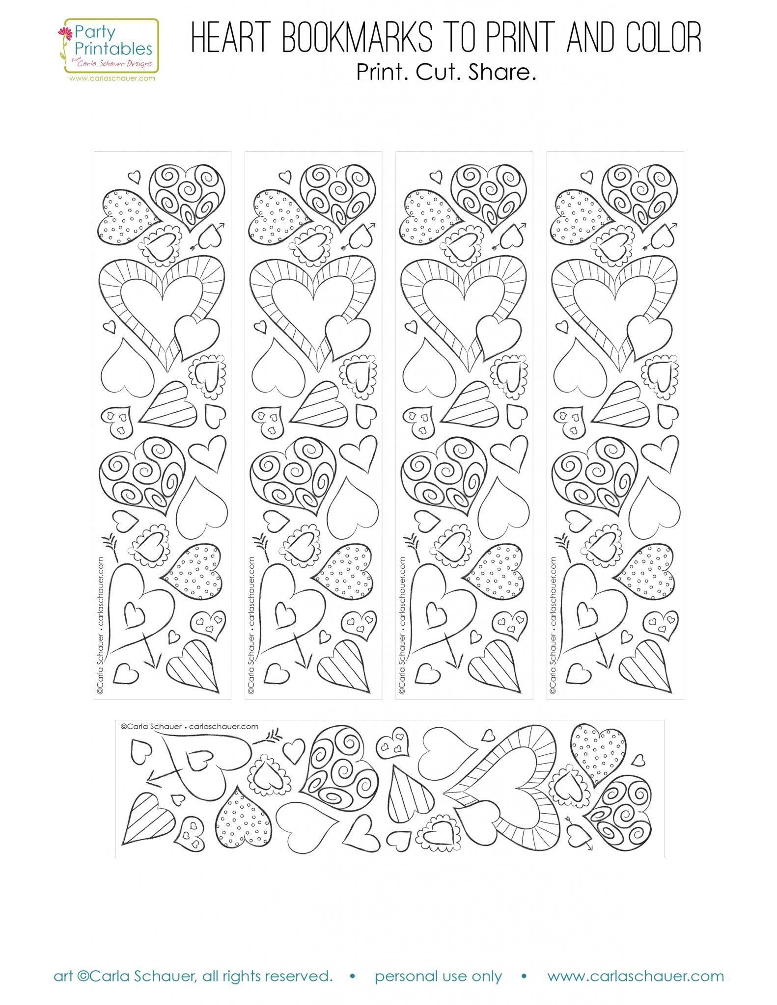 Valentine Heart Bookmarks to Print and Color | Free printable ...