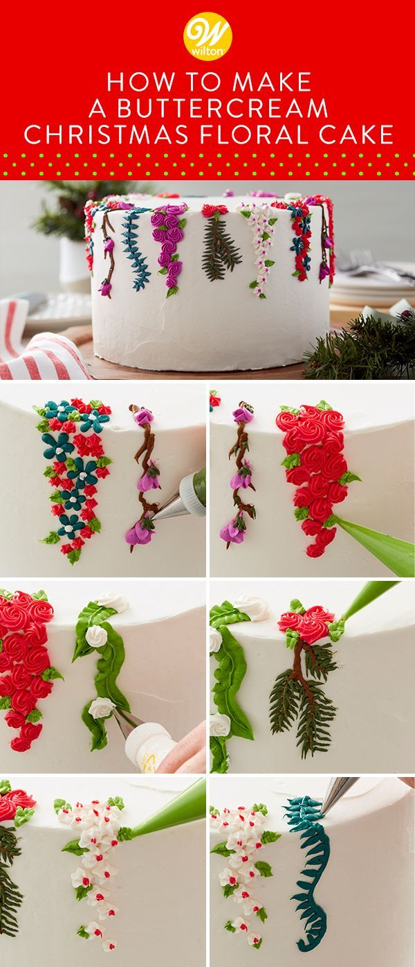 Show off your piping skills with this Christmas Floral Cake. Featuring seven varieties of winter foliage this beautiful cake is great for winter birthdays or wedding showers as well. Featuring a variety of piping techniques including rosettes stars and leaves this cake may look intricate but its actually great for beginning decorators!