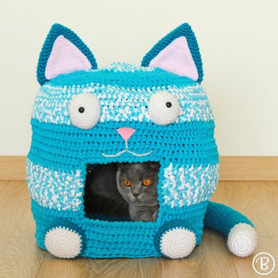 PATTERN: Crochet Cat Bed Cave Kitty Kat House T Shirt Yarn | Höhle ...