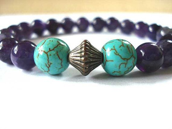 Amethyst and Magnesite Meditation Bracelet by peaceofminejewelry, $18.00
