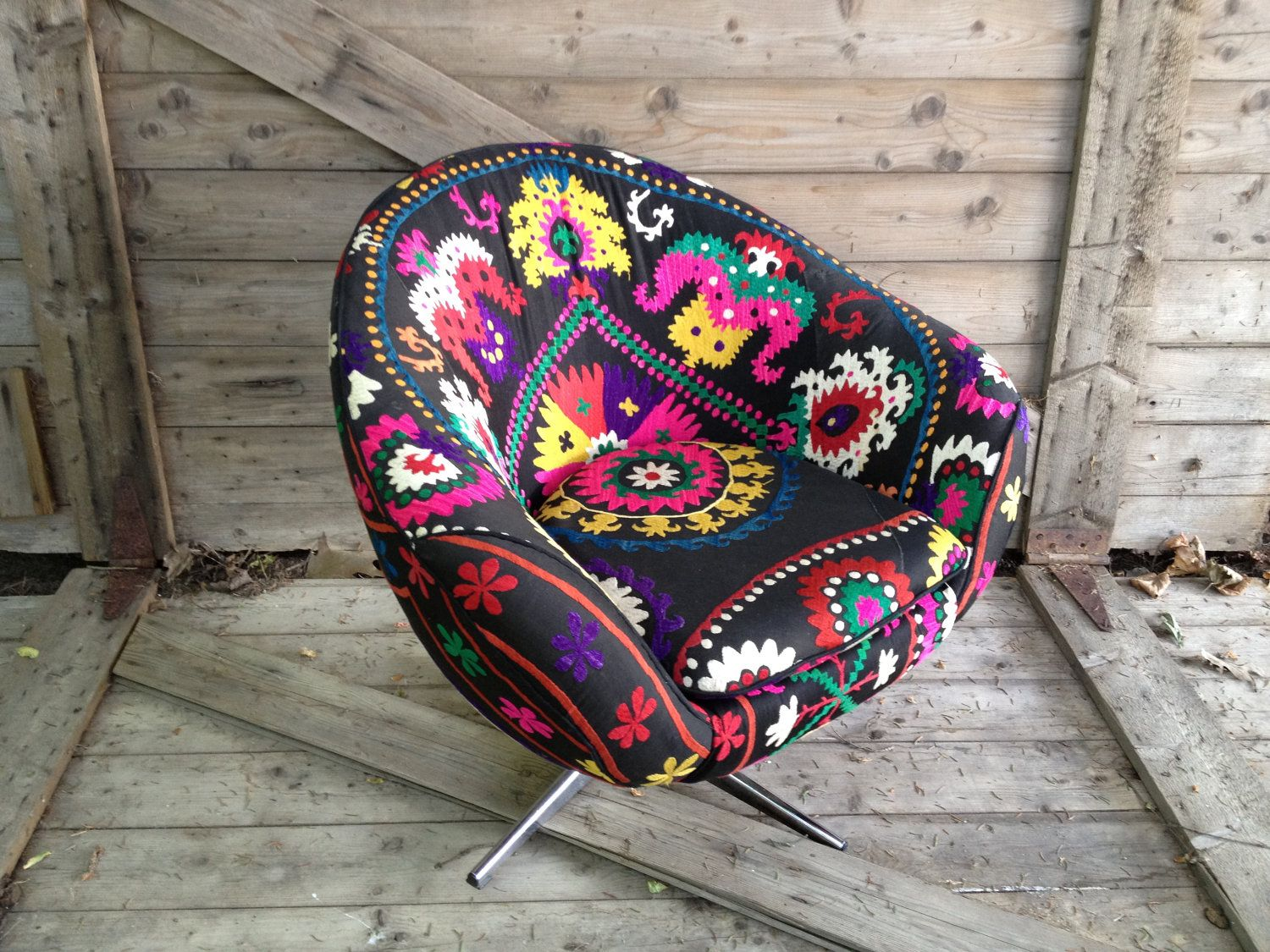 Mid Century Bucket Swivel Chair Re Fashioned In A Vintage Black Suzani With  Vibrant