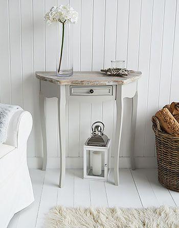 Bridgeport grey half moon console table Shabby chic dressers