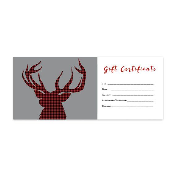 Woodland Animals, Deer, Red, Plaid, Gift Certificate, Premade - Printable Blank Gift Certificates