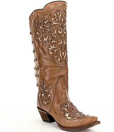 Corral Boots Inlay and Straps Block Heel Boots 2kNaf