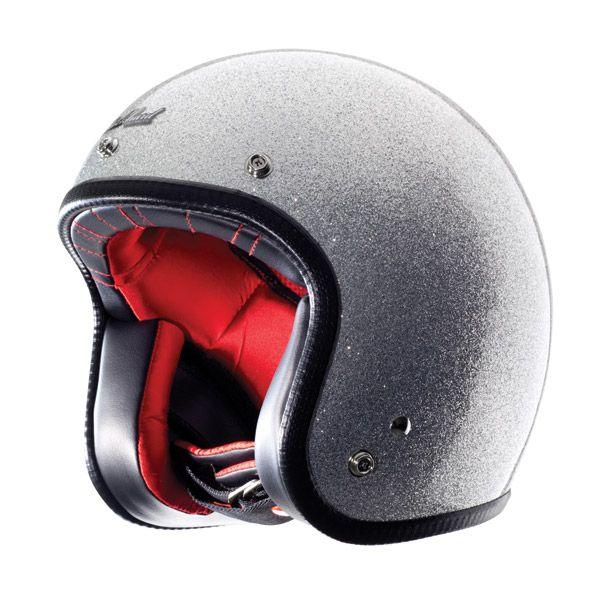 Rockhard Helmets Silver Flake American Classic Open Face Helmet
