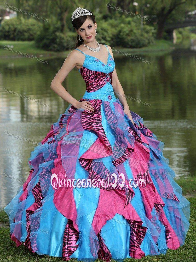 Colorful Zebra Print Appliques Vestidos De Quinceanera with Ruffles ...