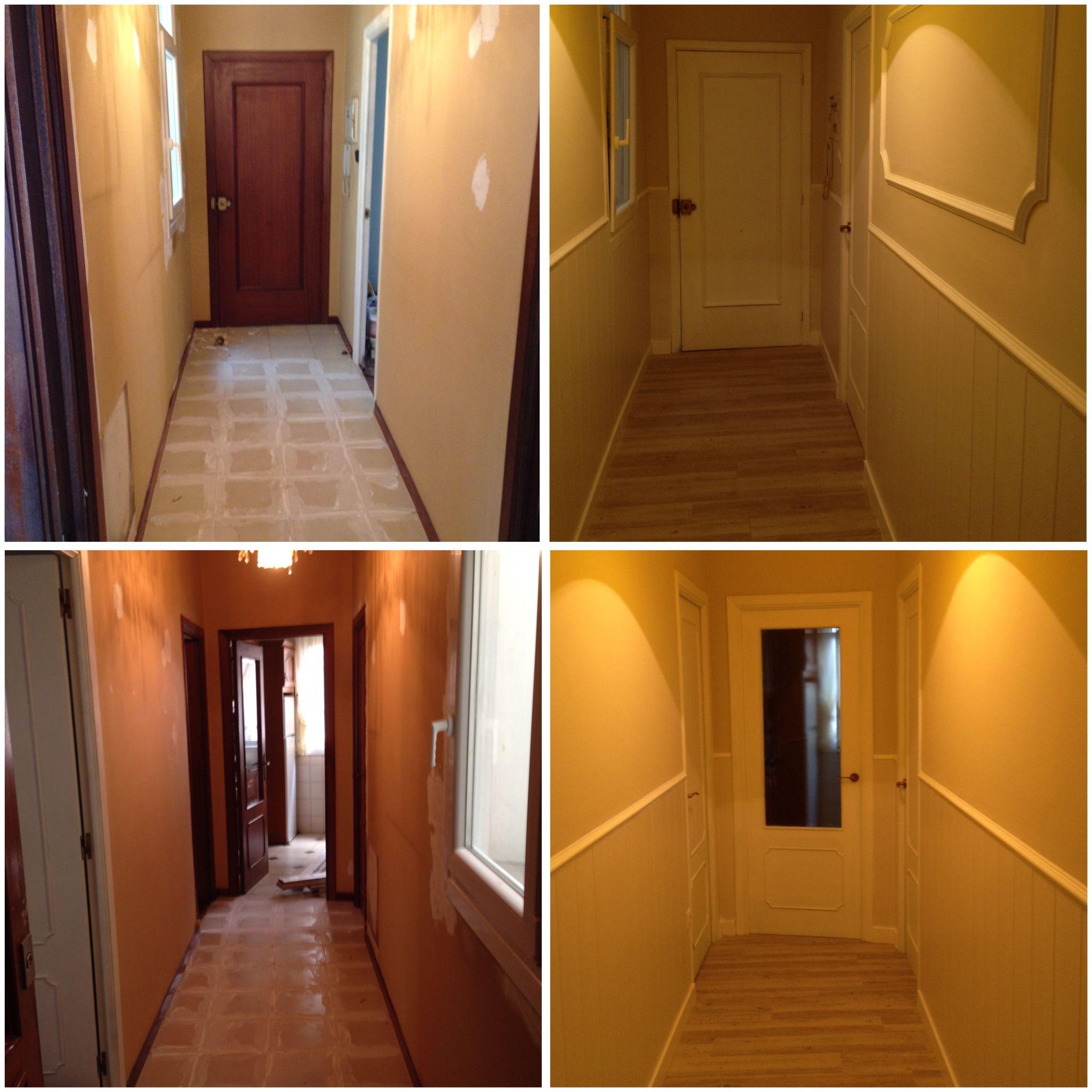 Remodelaci n de pasillo antiguo y oscuro con suelo - Decoracion paredes pasillos ...