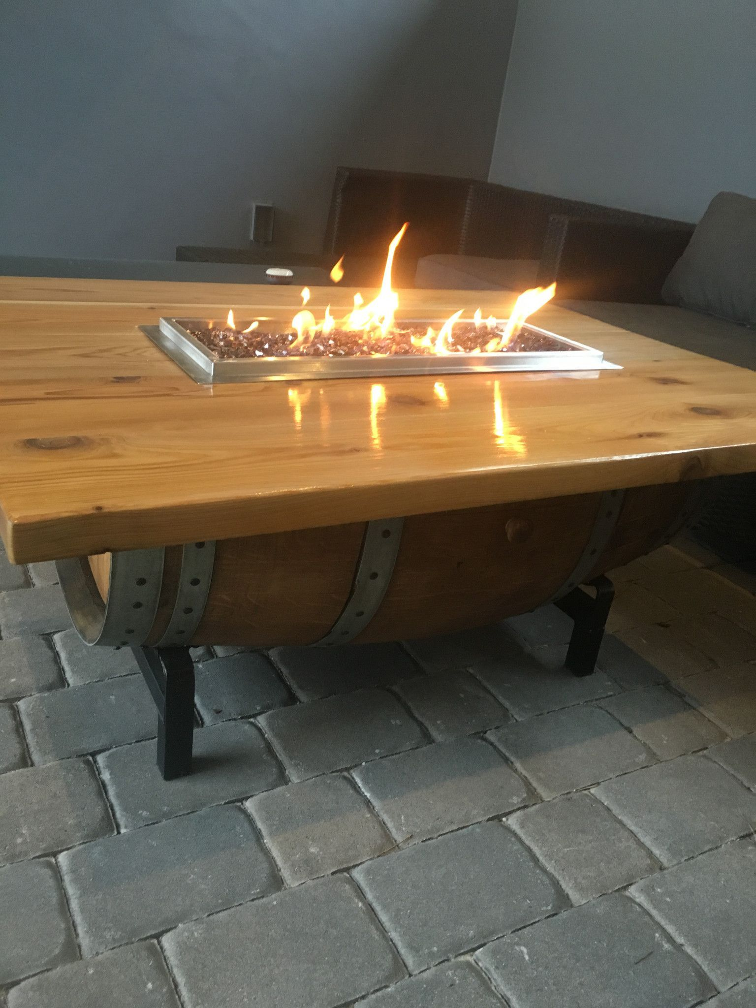 Reclaimed Barrel Coffee Table Fire Pit fireplaces