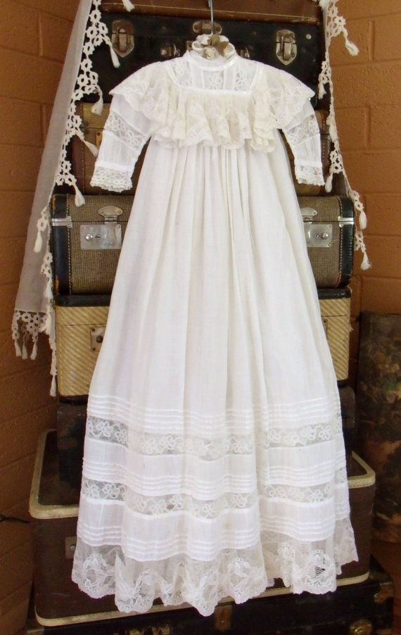 3dbe1a29fc6c RESERVED Vintage Victorian Lace Christening Gown Unisex Baby Fancy ...