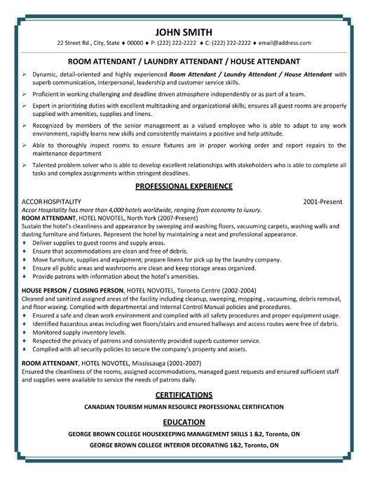 Click Here to Download this Room or Laundry or House Attendant - hospitality resume templates