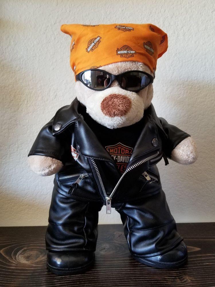 d57e5f7aecf Build a Bear Harley Davidson Plush Full Outfit Leather Jacket Boots Bandana  15