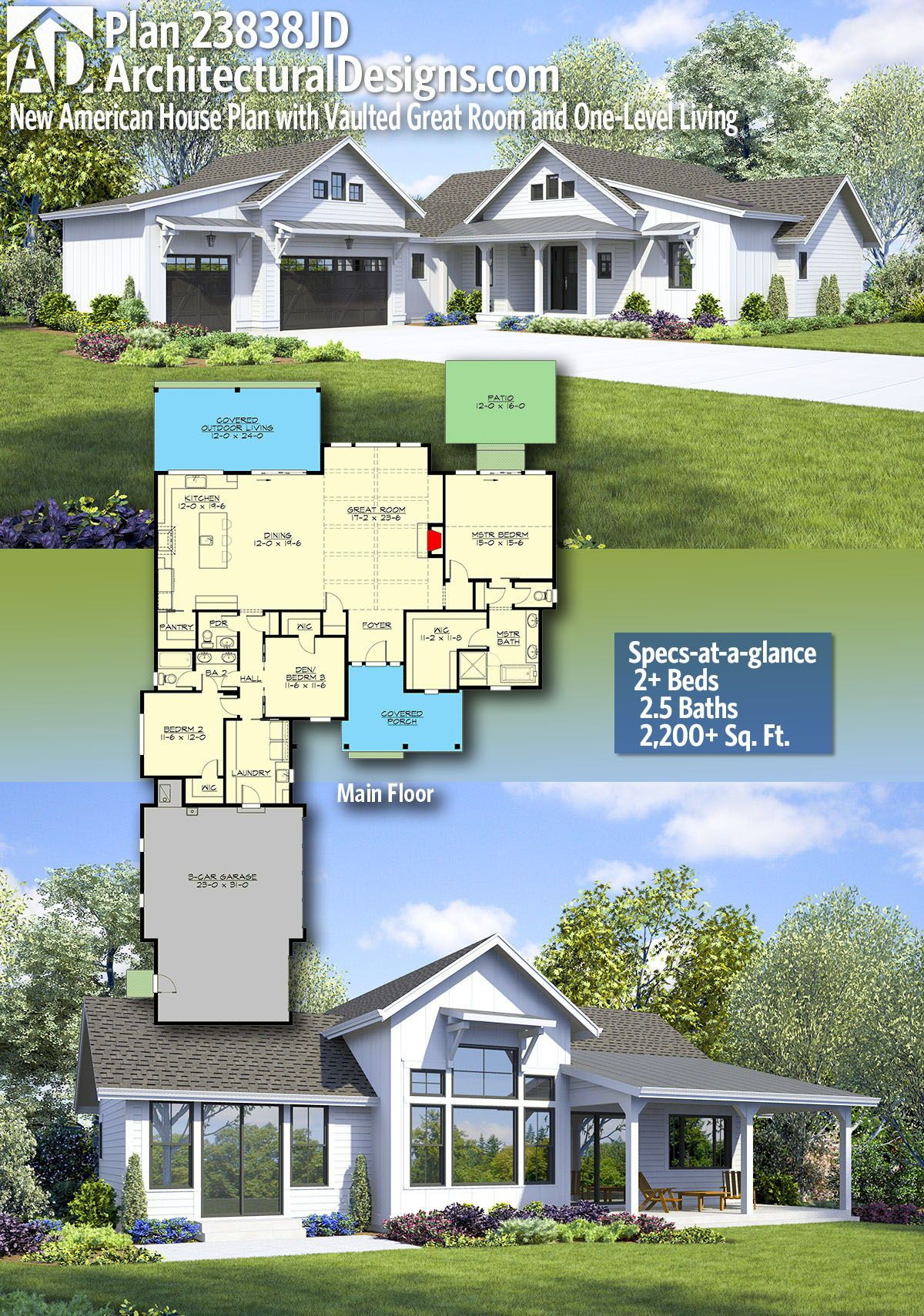 Plan 23838jd New American House Plan With Vaulted Great Room And One Level Living Beautiful House Plans Country House Plans American Houses