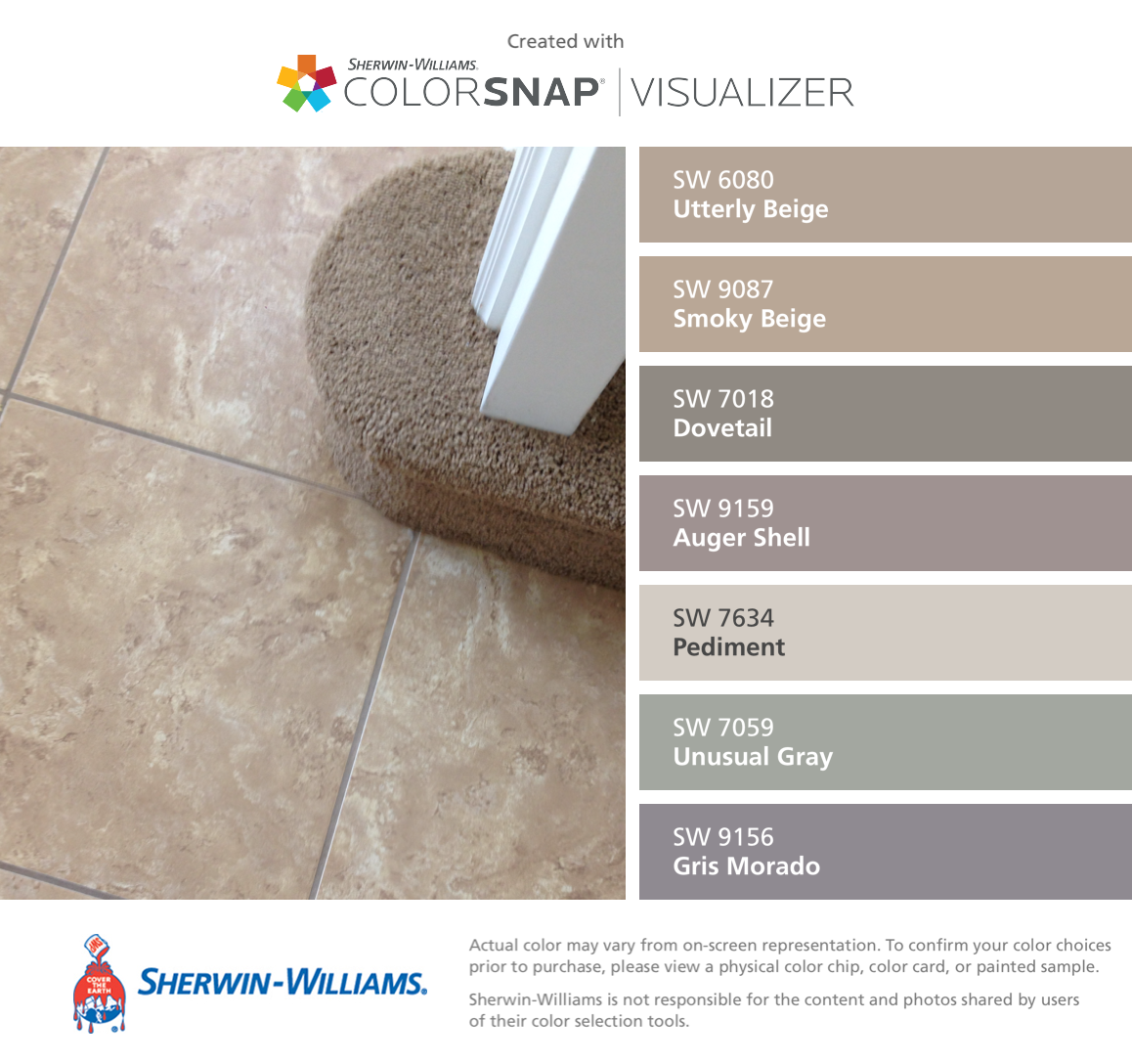 7018 dovetail sherwin williams - I Found These Colors With Colorsnap Visualizer For Iphone By Sherwin Williams Utterly Beige Sw Smoky Beige Sw Dovetail Sw Auger Shell Sw Pediment Sw
