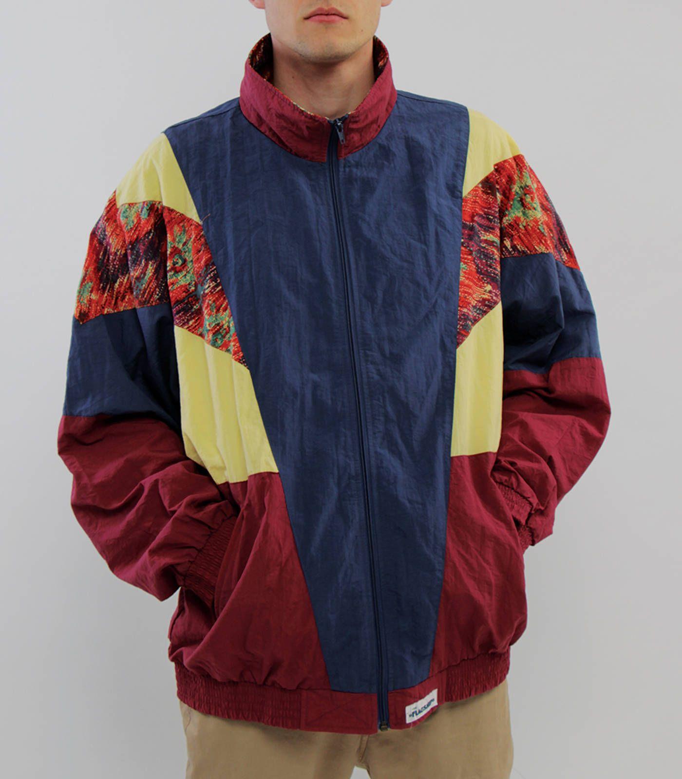 Vintage windbreaker athletic unisex jacket multicolor arty