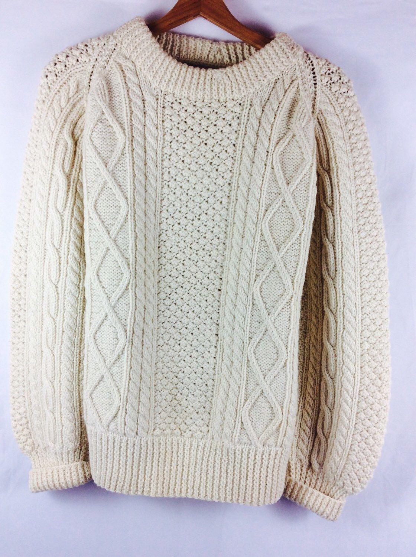 Wool Irish fisherman sweater cream handknit winter sweater womens ...