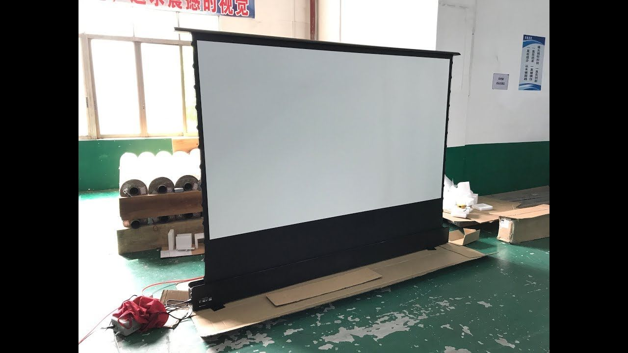 120 Inch Home Theater Electric Floor Rising Projector Screen Youtube Projector Screen Projector Wall Best Projector Screen