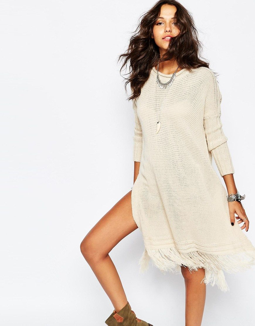 Image of stitch u pieces knit sweater with tassel hem cute dress