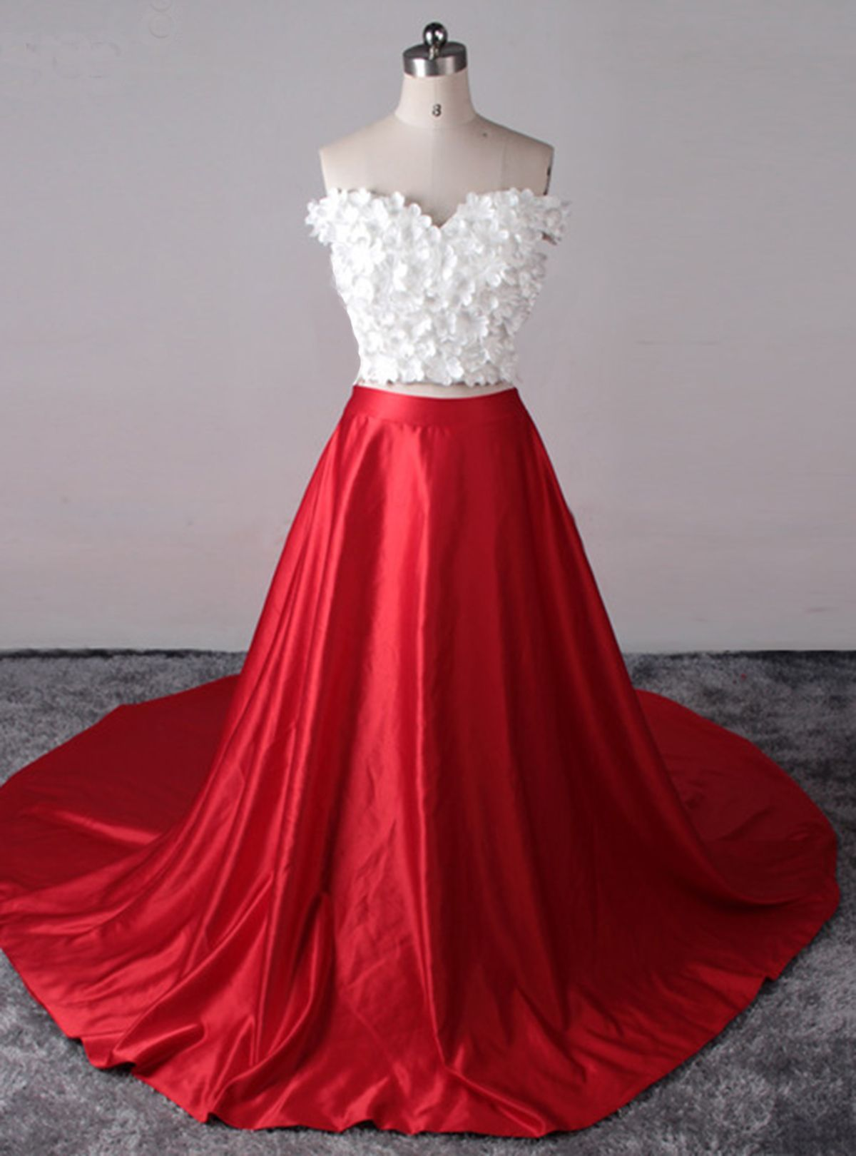 White top red satin two pieces prom dress red lipstick bold lashes