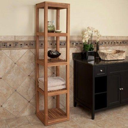 Five Tiered Teak Towel Tower Teak Bathroom Shelf Teak Bathroom