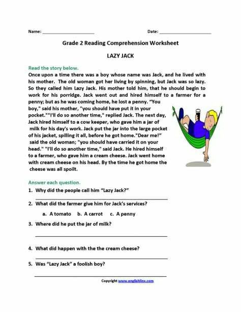 Quality second grade worksheets reading Awesome