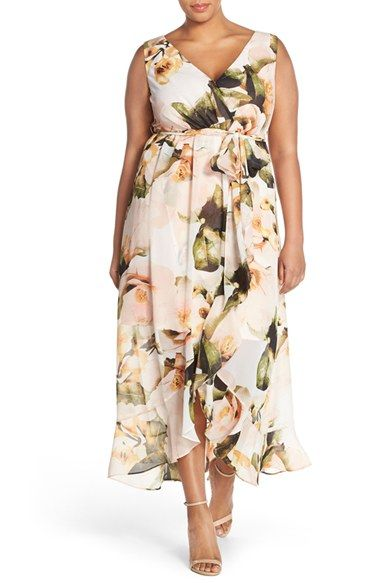 c9c9974632e8 Free shipping and returns on Sangria Floral Faux Wrap Maxi Dress (Plus Size)  at Nordstrom.com. Lush flowers bloom in magnificent detail over a floaty ...