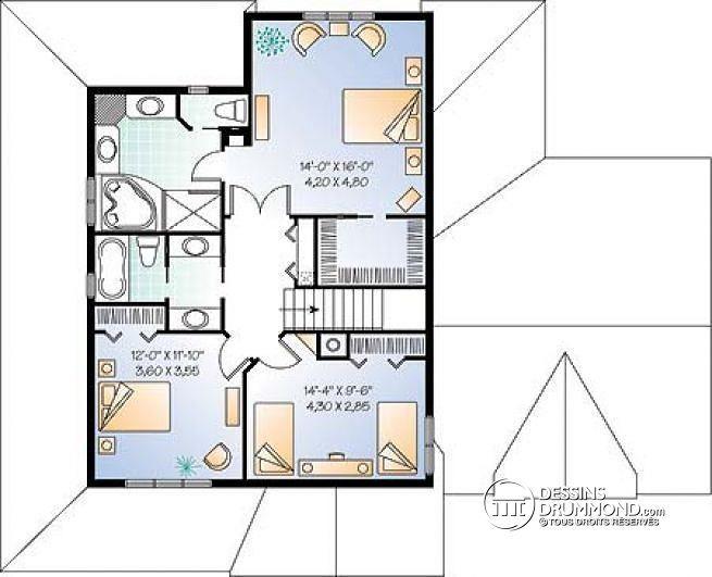 Plan de Étage Maison 2 étages, style Américain, 3 chambres, garage