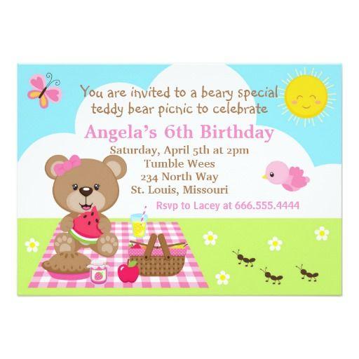 Picnic Bear Summer Spring Birthday Invitation – Invitations for Birthdays