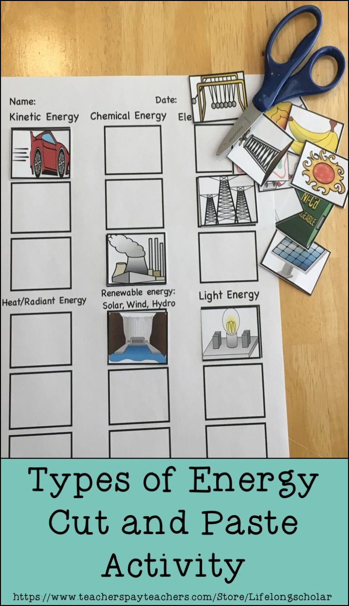 small resolution of This easy no prep science activity will help to reinforce types of energy.  Students will hav…   Science activities