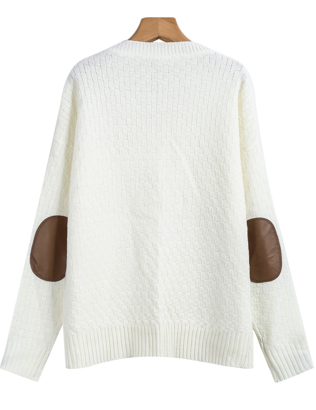 Shop White Long Sleeve Elbow Patch Cable Knit Sweater online ...