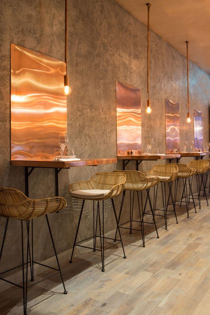 The bandol restaurant copper table closeup restaurantdesign