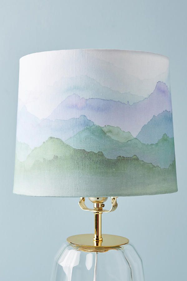 Painted Range Lamp Shade This Captures The Horizon Line Of A Soothing Mountain Scene Hardbacked Flex Cotton With Iron Frame S 8 H