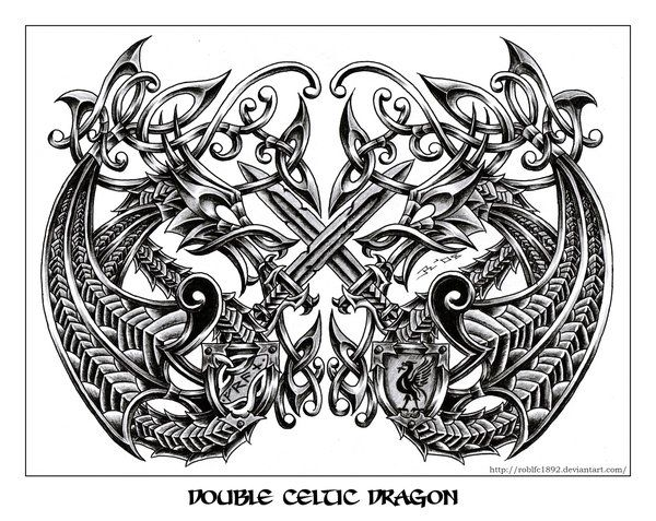 Double Celtic Dragon By Roblfc1892 On Deviantart Celtic Dragon Celtic Dragon Tattoos Celtic Tattoo