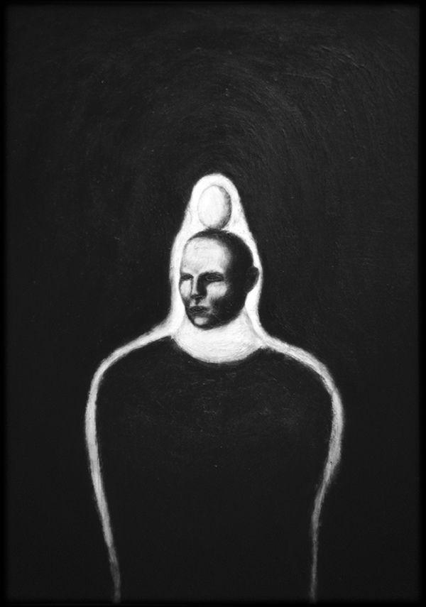 """Mirco Andrea Carlesso, """"Apparizione estatica di un ombelico parabolico"""", 1986, mix media on canvas, 70 x 90 cm.   von A.R.E.P.O."""