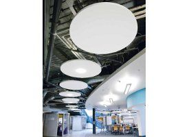 Ecophon Solo™ is a family of free-hanging sound absorbers that come in different shapes and colours. This gives you the possibility of creating eye catching installations that improve the sound environment in many different types of premises. i.e. offices, community centres, entrance halls and restaurants. Solo can also be used in buildings with exposed concrete soffits, (TABS; Thermally activated building systems) to create a good sound environment