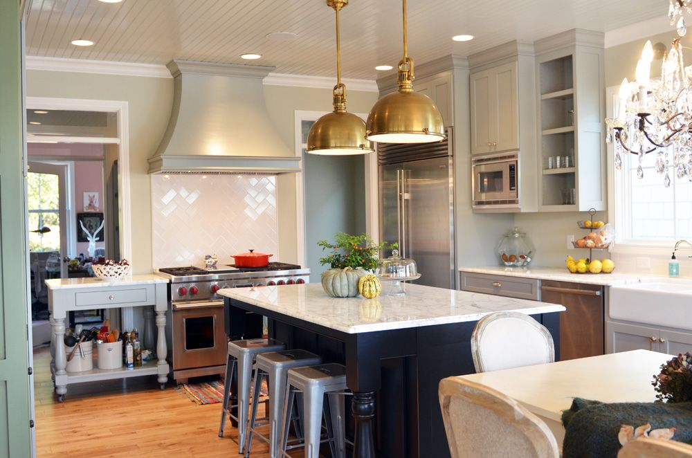 Kitchens Kitchens I Love Kitchens Homey Pinterest Herringbone - Kitchen pendant lighting brass