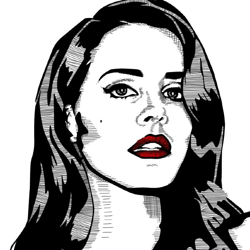 Lana del rey illustration by malcolm montgomery www for Lana del rey coloring pages