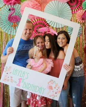 Flamingo first birthday backdrop party photobooth photo booth