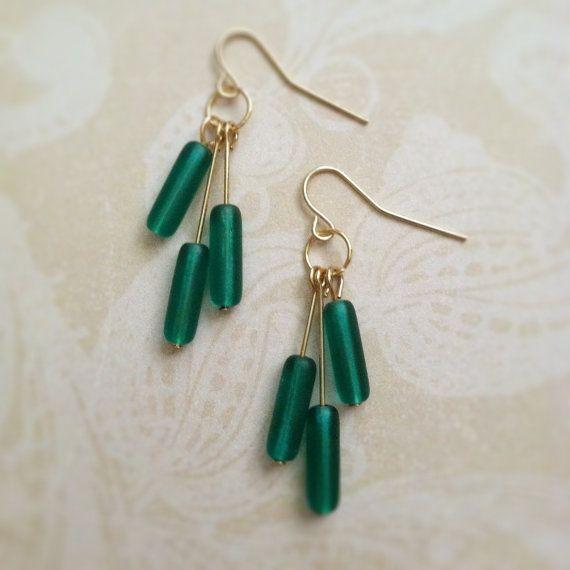 Emerald green glass dangle earrings clip on by MalarkeyJewelry, $16.00