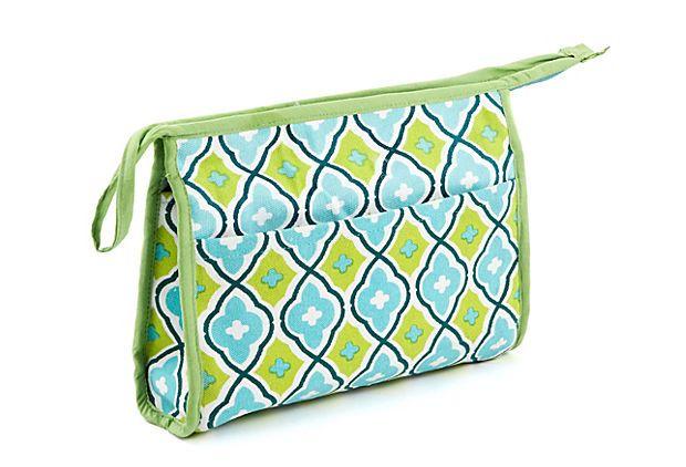 Maze Small Cosmetic Bag, Aqua on OneKingsLane.com