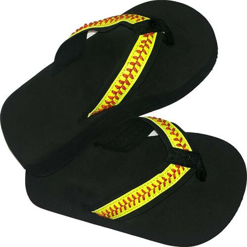 Great casual wear for any softball fan Softball seamed flip flops with optic stitching Cushy, foam soles Leaves my TX Warehouse within 24 hrs. Order online,