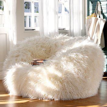 Furlicious Ivory Faux Fur Bean Bag Chair Slipcover Bean Bag Chair Home Furniture