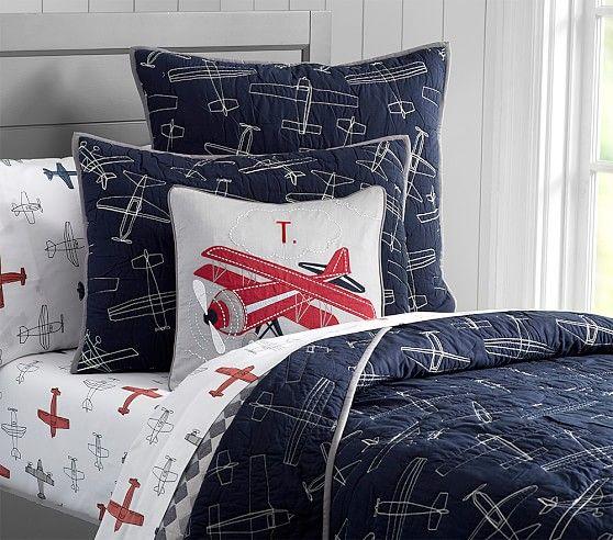 Braden Airplane Quilt Shams Vintage Airplane Bedroom Airplane Room Boys Airplane Bedroom