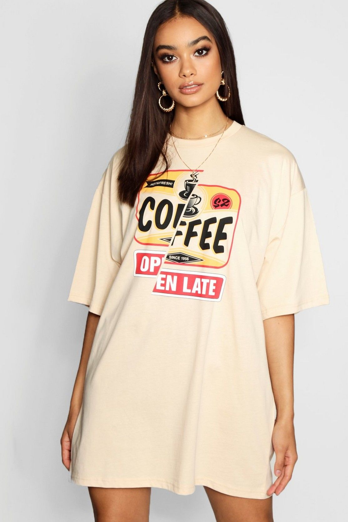 great variety models largest selection of 2019 100% original Coffee Shop Oversized T-Shirt Dress | Boohoo | Cute outfits ...